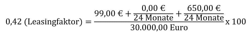Beispiel für eine Berechnung des Leasingfaktors