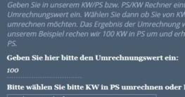 kW in PS oder PS in kW Rechner