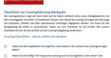 preiswert-leasen.de Checkliste zur Fahrzeugrückgabe