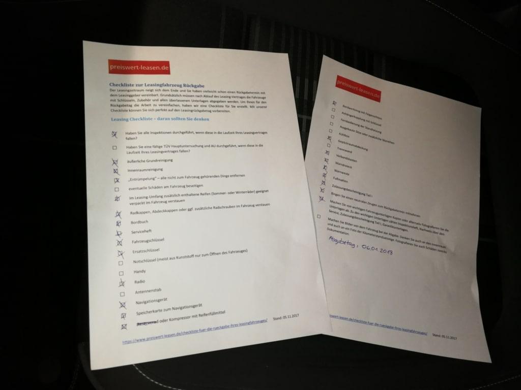 Checkliste Preiswert-leasen Tiguan Rückgabe