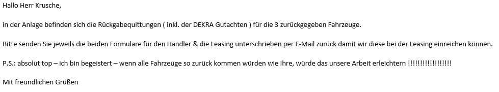 E-Mail Autohaus Tiemeyer mit unserem Dekra Gutachten der Leasingfahrzeuge