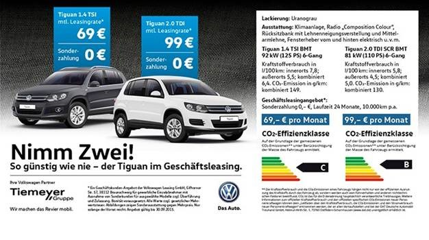 Tiguan Leasing Angebot 2015 Tiemeyer